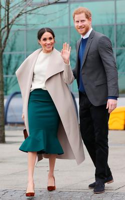 Crowd-pleasers: Prince Harry with Meghan Markle during their visit to Belfast last month