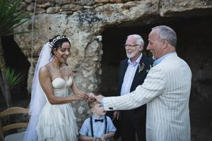 Fleur with husband Peter Corry on their wedding day at which actor Ian McElhinney officiated