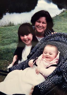 A family picture of Emma and Evie with their late mum Lorna