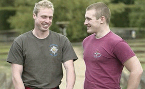 Colum McGeown and Private Scott Meenagh undergo physiotherapy after their injuries