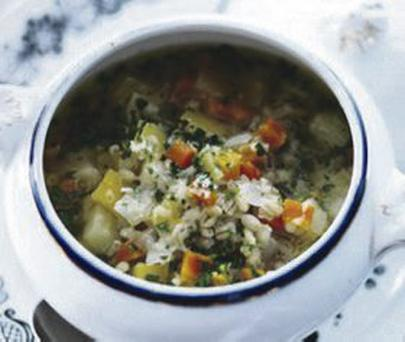 Winter veg and barley soup