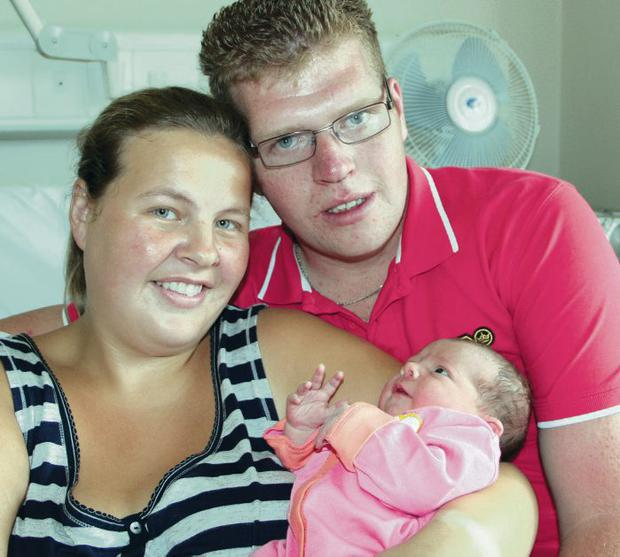 Janette Sommerville, Johnathan McCord with baby Darcey Esther born at 5.50pm on 22 July 2013 weighing 8lb 2oz.