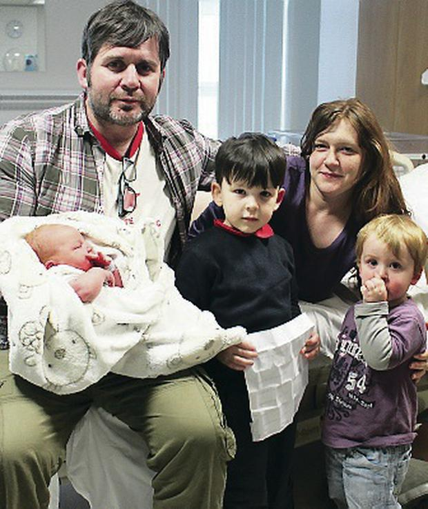 Welcome home: The McSharry family with baby Rory