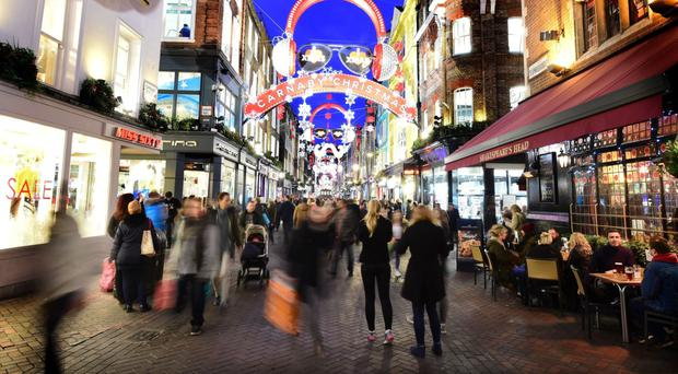 Christmas shoppers in central London