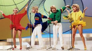 Jay with Bucks Fizz band members Cheryl Baker, Mike Nolan and Bobby Gee in 1981 when they won the Eurovision contest