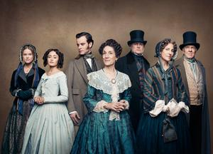(L-R) Alice Eve as Susan Trenchard, Ella Purnell as Lady Maria Grey, Jack Bardoe as Charles Pope, Harriet Walter as Lady Brockenhurst, Philip Glenister as James Trenchard, Tamsin Greig as Anne Trenchard and Tom Wilkinson as Earl of Brockenhurst