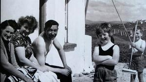 Inishfree Island off Burtonport in Co Donegal. Barbara with brother Tony is in the backgroun,  dad Brendan and mum Margo are sitting with Bridget Duffy (left of picture), one of the Islanders.