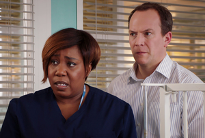 Holby couple: Chizzy Akudolu as Mo Effanga with Ben Hull as Derwood 'Mr T' Thompson