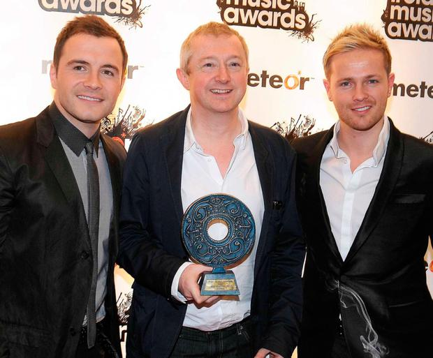 Louis with Westlife's Shane Filan and Nicky Byrne