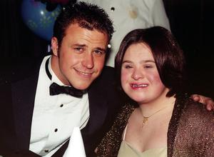 Craig Phillips with his family friend Joanne Harris