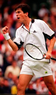 Tim celebrating a win over Pat Rafter at Wimbledon in 1998