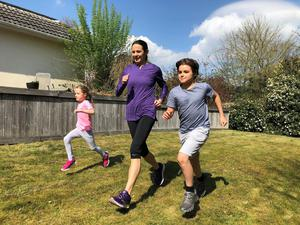 Running with her son and daughter as part of the Fit For Sport Activity Challenge