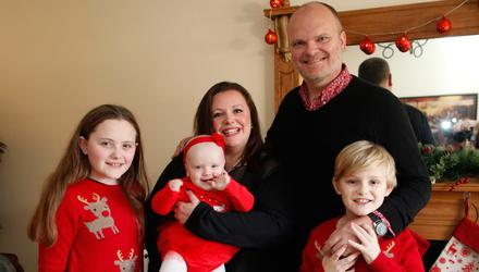 Kerry McLean with her husband Ralph and children, Tara, Dan and Eve.  Pic by Peter Morrison