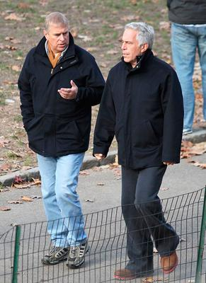 From left, Prince Andrew and Jeffrey Epstein walking in Central Park, New York