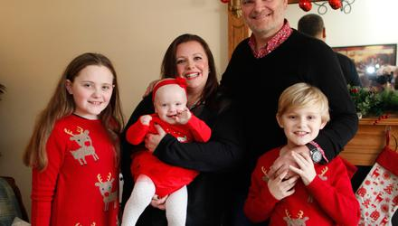 Kerry McLean with her husband Ralph and children, Tara (10), Dan, (8) and Eve (1)