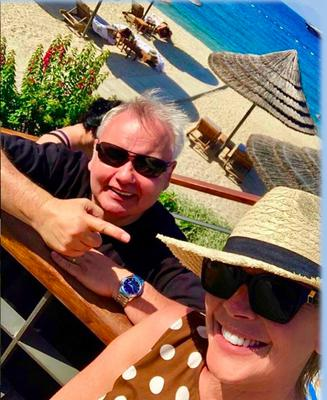Eamonn Holmes with wife Ruth Langsford on holiday at the Mandarin Oriental, Bodrum in Turkey