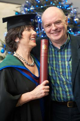 Maggie Taggart with her husband John Morrison at her Masters graduation in 2011 at Ulster University