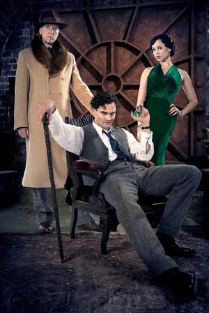 ALL SERIOUS: Richard with Tom Bateman and Natalie Gumede in ITV series Jekyll and Hyde; and the actor is all smiles during a photoshoot (left)