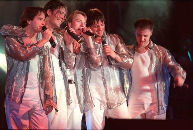 Louis' first big band Boyzone (with Stephen Gately far left)