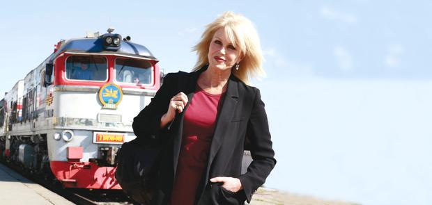 Joanna Lumley in front of the Trans-Siberian train in Mongolia