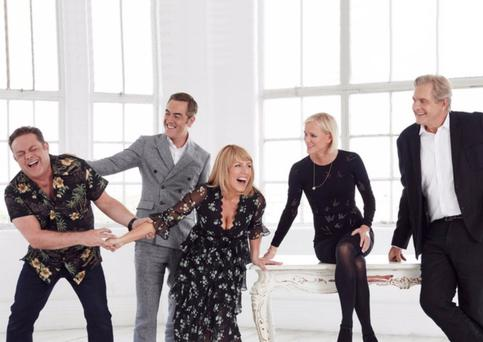 Happy return: From left, John Thomson, James Nesbitt (also below), Fay Ripley, Hermione Norris and Robert Bathurst back together