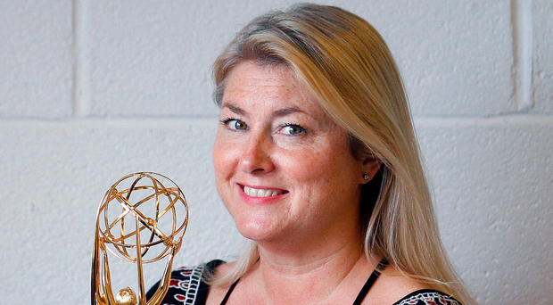 Pamela Smyth with her Emmy award
