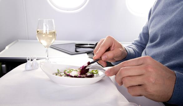 The exquisite food in business class on the Aer Lingus Airbus A330 en route to the frantic city of New York comes with a choice of four wines