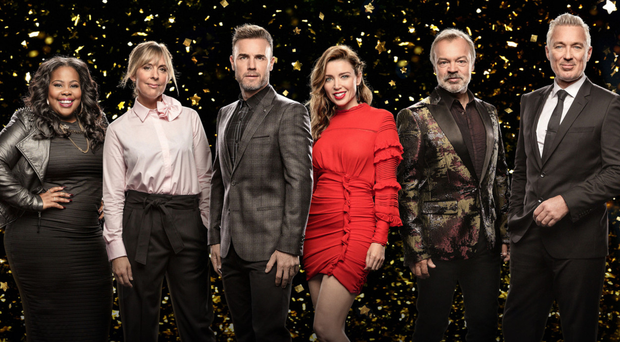 Show time: Amber Riley, Mel Giedroyc, Gary Barlow, Dannii Minogue, Graham Norton and Martin Kemp