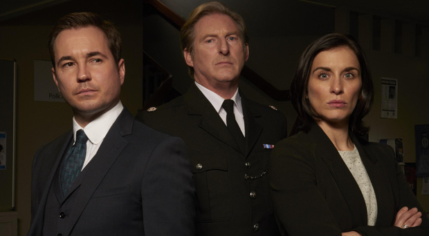 Duty Calls: Martin Compston with Line of Duty co-stars Adrian Dunbar and Vicky McClure