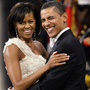 PARTY TIME: Barack Obama with wife Michelle.