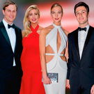 Poles apart: From left, Jared Kushner, Ivanka Trump, Karlie Kloss and Joshua Kushner
