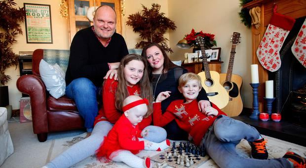Family affair: Kerry and with her husband Ralph and children, Tara (10), Dan, (8) and Eve (1)