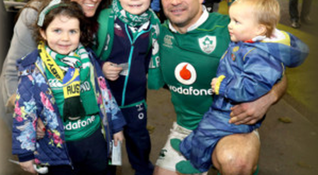 Rory Best with his wife Jodie and children (left to right) Penny, Ben and Richie,