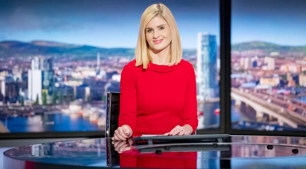 Linzi Lima reading the news for BBC NI