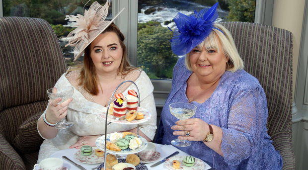 Julie-Ann Coll and mum Catherine Cooke enjoy afternoon tea at Galgorm ahead of the royal wedding next week