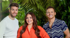 Presenters Joel Dommett (left), Scarlett Moffatt and Joe Swash