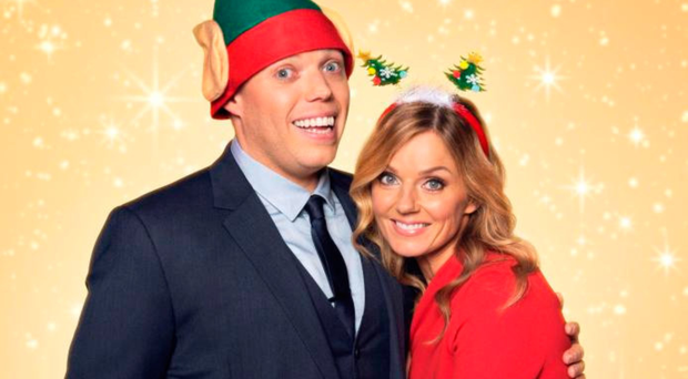 Christmas chorus: Rob Beckett with his All Together Now co-star Geri Horner