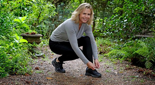Liz Earle out exercising