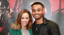 Aston Merrygold with his fiance Sarah Richards
