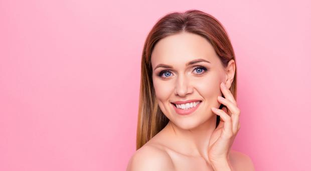 Correction enjoy fresh facelift model wellness wellbeing apply smear feminine girlish concept. Close up portrait of beautiful attractive lady touching cheek with fingers isolated background copy-space