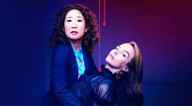 Sandra Oh as Eve Polastri and Jodie Comer as Villanelle in Killing Eve