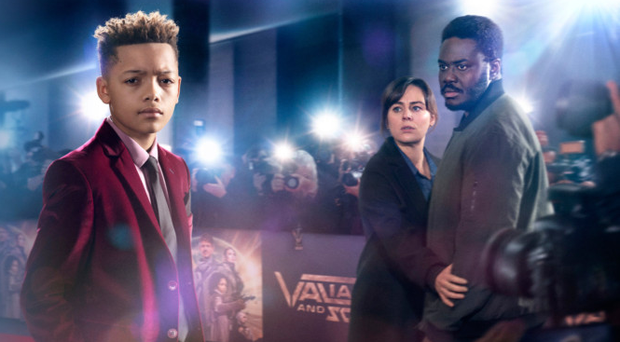 Jill Halfpenny and Babou Ceesay with Max Fincham in the BBC's new four-part drama Dark Money which begins on Monday night