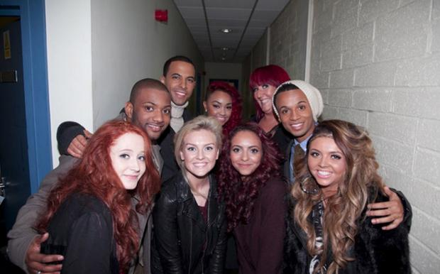 Janet with fellow X Factor contestants including JLS and Little Mix