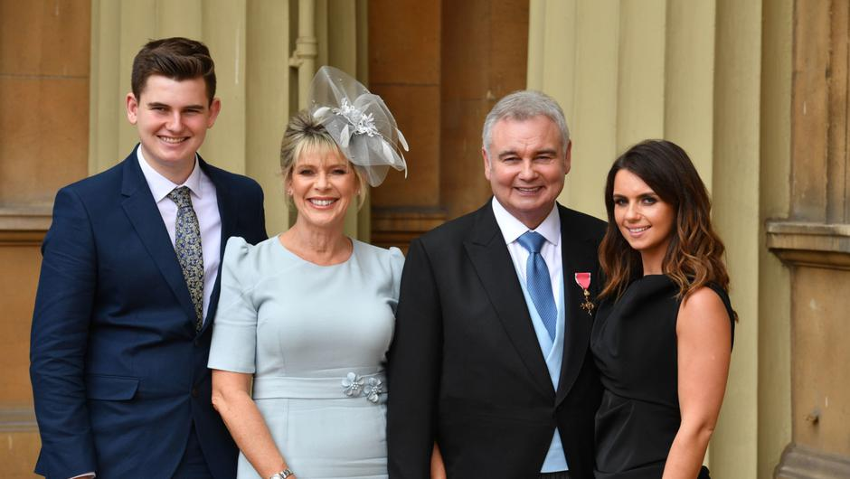 Eamonn Holmes, with his wife Ruth Langsford and his son Jack and daughter Rebecca (right), as he wears his OBE (Officer of the Order of the British Empire) after it was awarded to him by Queen Elizabeth II for services to broadcasting during an Investiture ceremony at Buckingham Palace in central London.