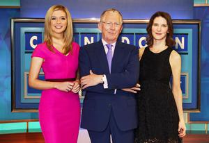 Nick Hewer with Rachel Riley and Susie Dent