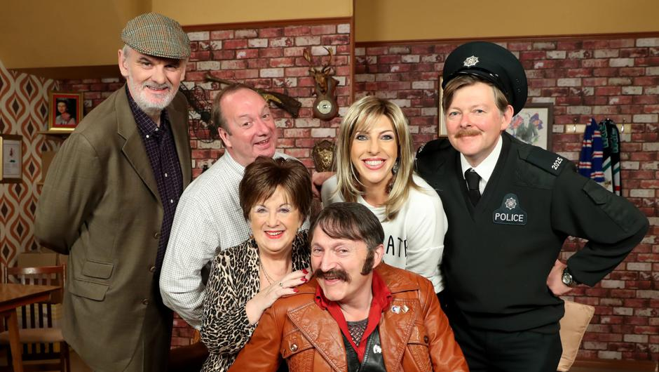Olivia and Alexandra with Give My Head Peace co-stars Tim McGarry, Damon Quinn, Michael McDowell and Martin Reid