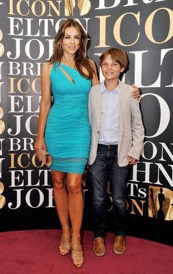 Liz Hurley with her son Damian,