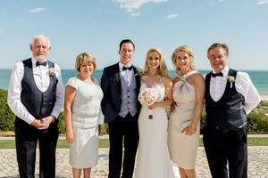 HAPPY DAY: Connor and Holly's wedding day with their family