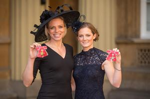 The pair at Buckingham Palace, London, where Kate received an OBE and Helen an MBE