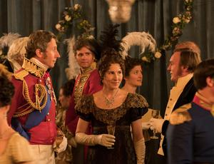 Pictured: (L-R) Nicholas Rowe as Duke of Wellington, Philip Glenister as James Trenchard and Tamsin Greig as Anne Trenchard.